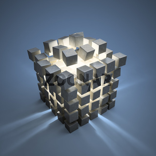An explotion of abstract cubes cgi background