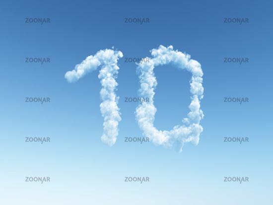 wolken bilden die zahl 10 - 3d illustration