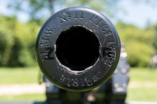 Close up of the muzzle of a civil war cannon