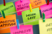 notes concept for motivation for stop drinking sweetened or alcoholic drinks