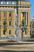 Fountain on the background of the building.
