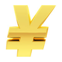 Gold Yen sign with gradient reflections isolated on white. High resolution 3D image