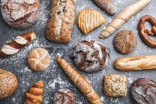 Variety of delicious freshly baked and healthy bread