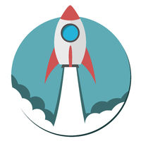 Flat Icon - Startup - Rocket launch