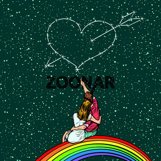 heart pierced by an arrow over a couple in love