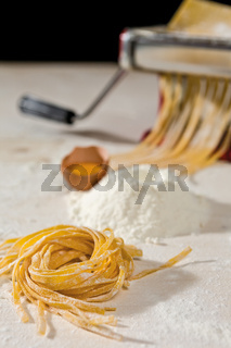 Tagliatelle pasta and its ingredients