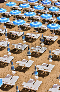 Mediterranean beach during hot summer day.