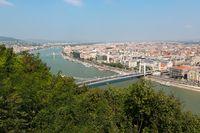 View over Budapest and Elisabeth Bridge, Hungary