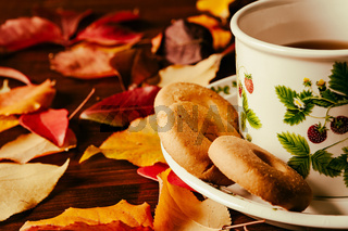 Closeup of cup of tea with biscuits and autumnal foliage
