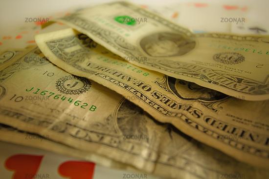 Dollar Geldscheine abgegriffen