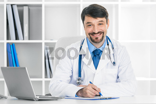 Doctor in clinical office