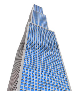 isolated high building on a white background