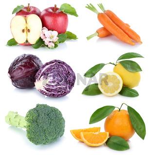Obst und Gemüse Früchte Apfel Orange Karotten Möhren frische Collage Freisteller freigestellt isoliert