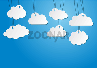 Vector blank paper clouds hanging on the strings