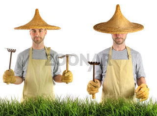 Man with Asian straw hat