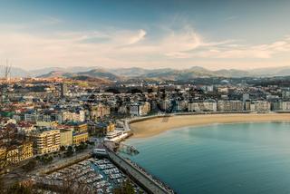 San Sebastian cityscape at winter sunset