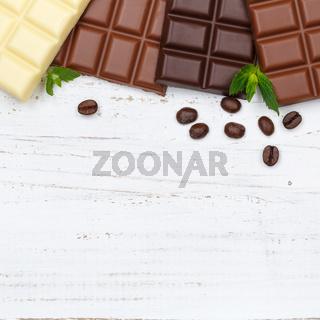 Schokolade Tafel Süßigkeiten Essen Textfreiraum Quadrat Holzbrett von oben