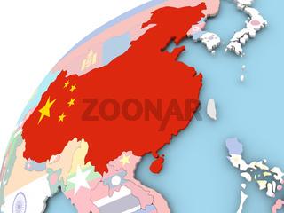 China on globe with flag