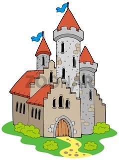 Ancient medieval castle - isolated illustration.