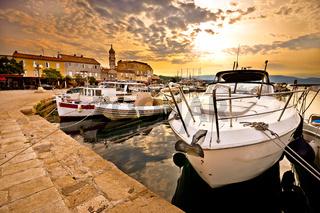Town of Krk golden morning view