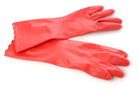 red rubber gloves