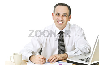 Office worker studying reports