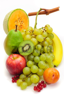 fresh fruits isolated on table