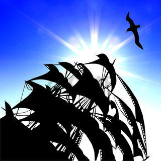 illustration of the sail on background blue sky