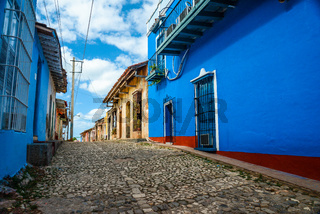 Vibrant colonial houses on street in Trinidad,Cuba