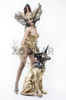 Nymph, Deity, beautiful woman with green hair in golden goddess armor. Fantasy warrior