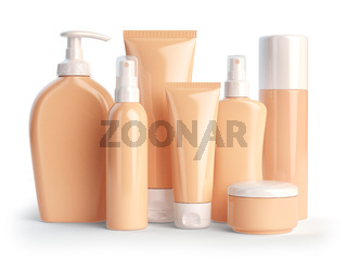 Set of cosmetic products.  Cosmetic series of different daily beauty care products isolated on white background. Containers for cream, ointment, lotion and soap.