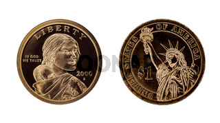 US one dollar coin - Sacagawea and Statue of Liberty