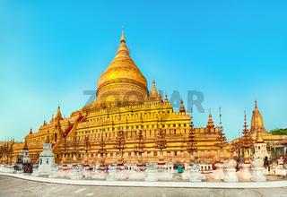 Shwezigon pagoda in Bagan. Myanmar. Panorama
