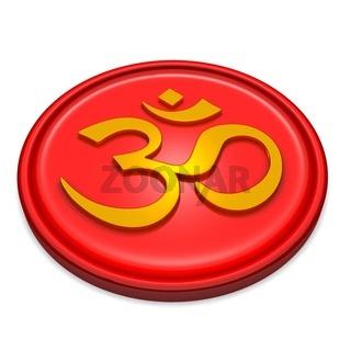 3D - Golden OM sign on red Medallion 02
