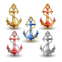 Nautical anchors isolated on white background.