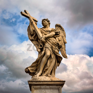 Angel with the Cross on Aelian Bridge in Rome, Italy