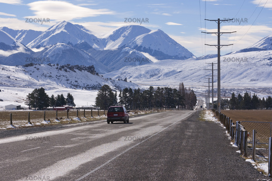 West Coast Road at Castle Hill, Canterbury,New Zealand in Winter