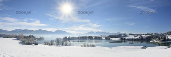 Panorama Winterlandschaft in Bayern im Allgäu