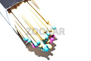 Zündhölzer mit bunten Streichholzköpfe
