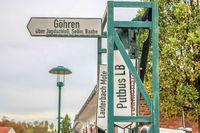 Ziel-Anzeiger im Kleinbahn-Bahnhof Binz auf Rügen