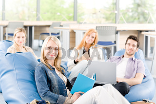 Portrait of high-school study group