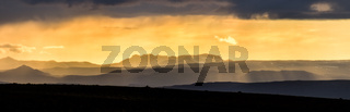 Colorful sunset over mountains. Fantastic view of icelandic landscape. Iceland.