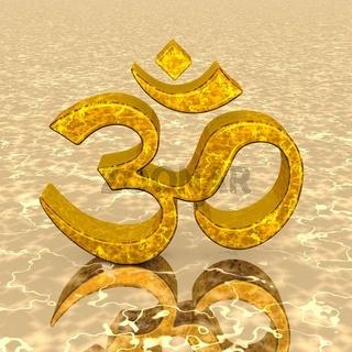 3D - Magic golden OM sign 02
