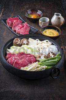 Sukiyaki in traditional Cast Iron Pot