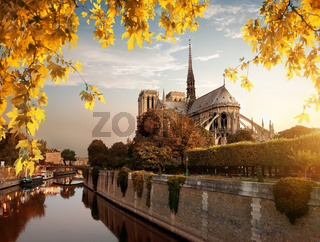 Notre Dame and park in autumn