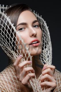 Beautiful girl with net