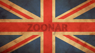 Old vintage UK British flag over paper parchment