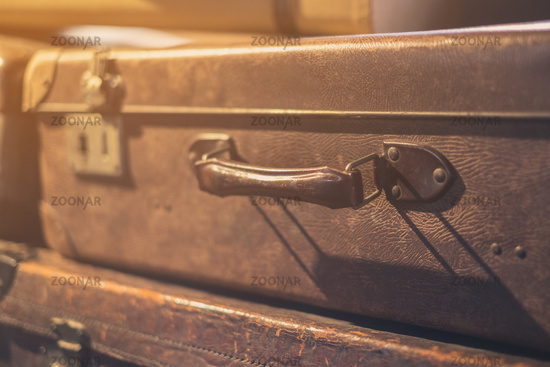 old suitcase handle closeup - vintage suitcase