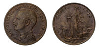 One 1 cent Lire Copper Coin 1912 Prora Vittorio Emanuele III Kingdom of Italy