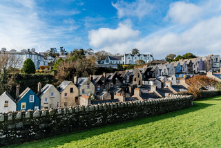 Picturesque view of row houses in small Irish town